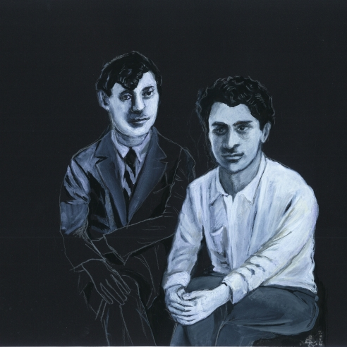Black and white painting of two men seated next to each other. The man on the right has dark hair which falls in a triangular shape across his forehead and is wearing a black suit. The man on the left has curly dark hair which rises out of his face and is wearing a white button up and grey slacks. Both men lean over to place their hands on their knees with their legs crossed.