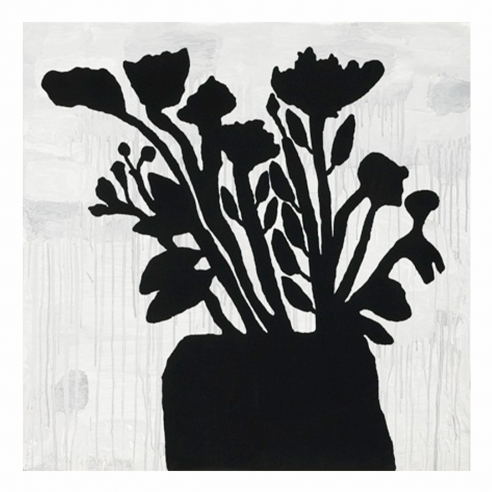 Donald Baechler black flowers print