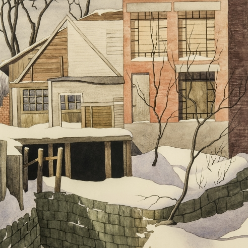Z. VANESSA HELDER (1904–1968), Alterations, about 1948. Watercolor on paper, 19 1/2 x 14 3/4 in. (detail).
