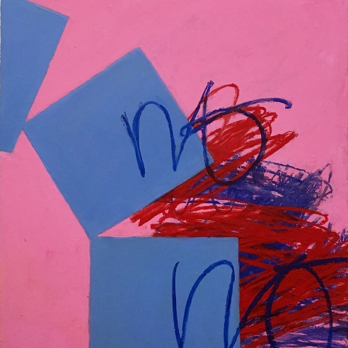 a high-key colored, late abstraction by Louisa Chase with blue blocks and thick scraffito markings