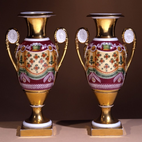 "Pair ""Old Paris"" Porcelain Vases with Drapery Decoration"