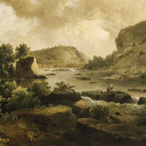 "THOMAS DOUGHTY (1791–1856), ""View at Harper's Ferry, from Below,"" about 1825–27. Oil on canvas, 17 x 24 in. (detail)."
