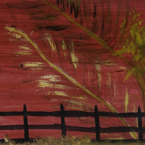 a painting by self-taught artist Frank Walter of foliage with a black fence against a red sky