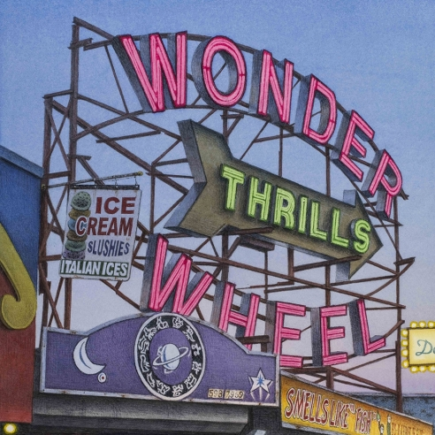 watercolor painting of the Wonder Wheel sign in Coney Island