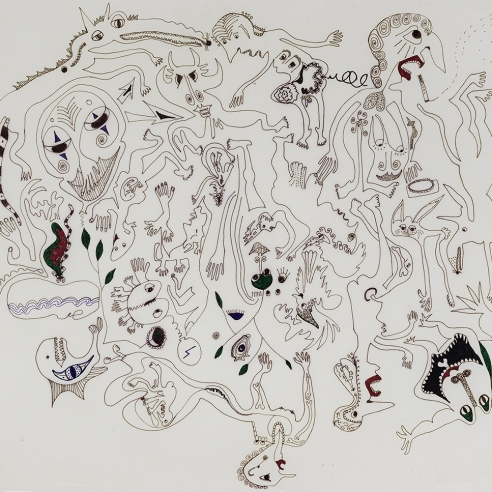 a densely-packed, fantastical drawing of figures, monsters and animals by self-taught artist Jeanne Brousseau