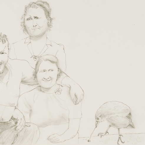 a drawing by Honore Sharrer of a family with a large bird next to them
