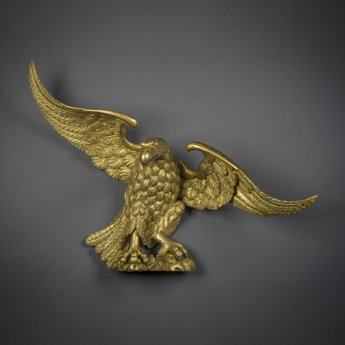 Eagle  American (probably Philadelphia), possibly by William Rush (1756–1833), about 1810. Wood, carved, gessoed, and gilded, 27 3/8 in. high, 35 3/4 in. wide, 12 5/8 in. deep (overall).