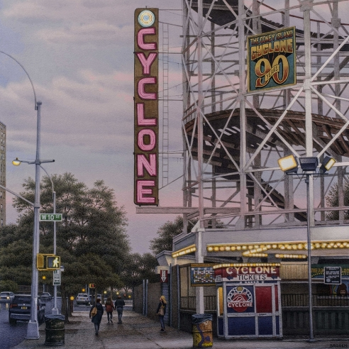 watercolor painting of the Cyclone roller coaster in Coney Island