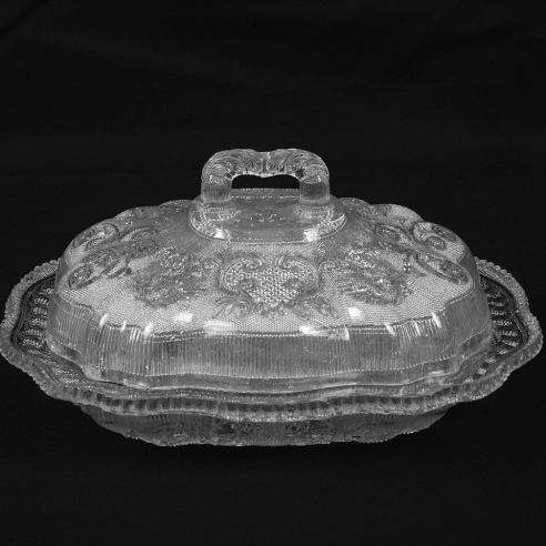 "Clear ""Lacy"" ""Princess Feather"" Covered Vegetable Dish with Grape Border"