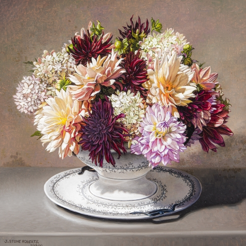 a realist painting of dahlias and hydrangeas in a white porcelain terrine by Stone Roberts