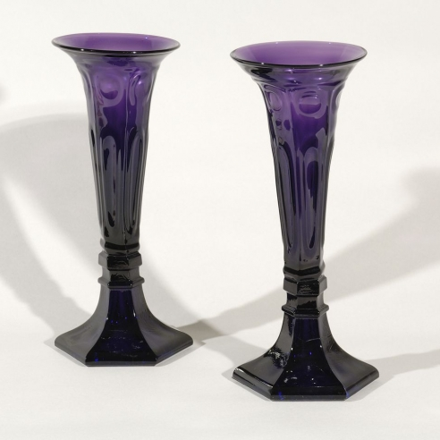 Pair Tall Amethyst Vases