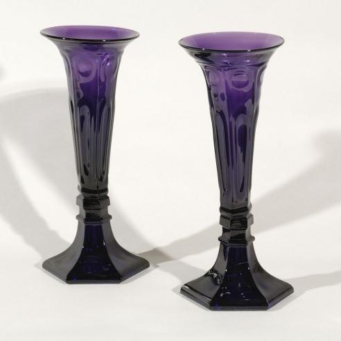 Pair Tall Amethyst Vases