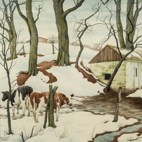 Z. VANESSA HELDER (1903–1968), Red Earth and Spotted Cows, about 1942. Watercolor on paper, 17 3/4 x 21 1/2 in. (detail).