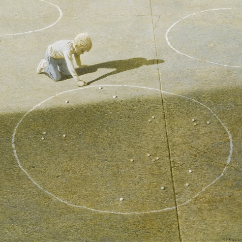 "ROBERT VICKREY (1926–2011), ""Marble Player."" Egg tempera on gessoed panel, 11 3/8 x 16 in. Detail."