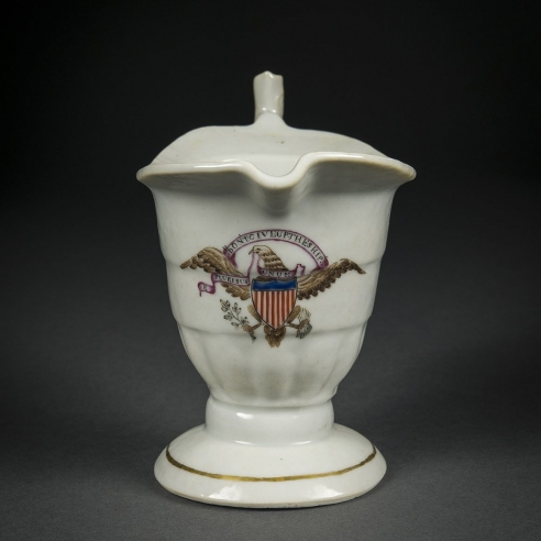 """Helmet-Shaped Creamer with the Seal of the United States and the Motto """"DONT GIVE UP THE SHIP"""""""
