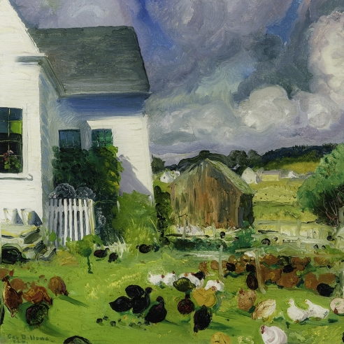 """GEORGE WESLEY BELLOWS (1882–1925), """"Grammy Ames' House, No. 1.""""  Oil on panel, 18 x 22 in. Detail."""