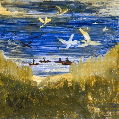 a painting by self-taught artist Frank Walter of men in canoes with birds flying overhead
