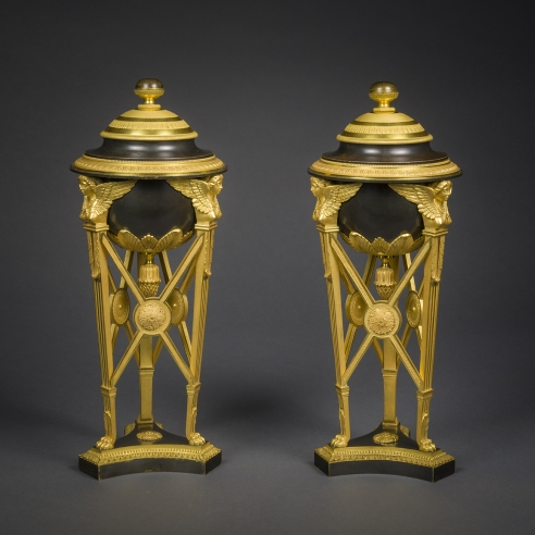 Pair Tripod Urns with Covers, in the Empire Taste