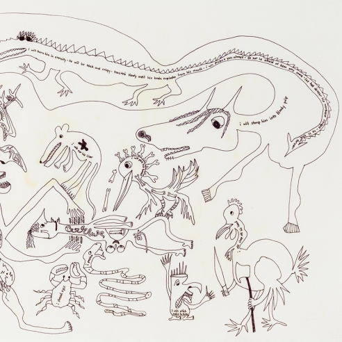 a fantastical drawing of a horse and other animals by self-taught artist Jeanne Brousseau