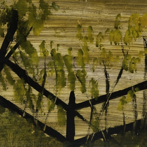 a landscape painting by Frank Walter of trees against a dark fence in a yellow field