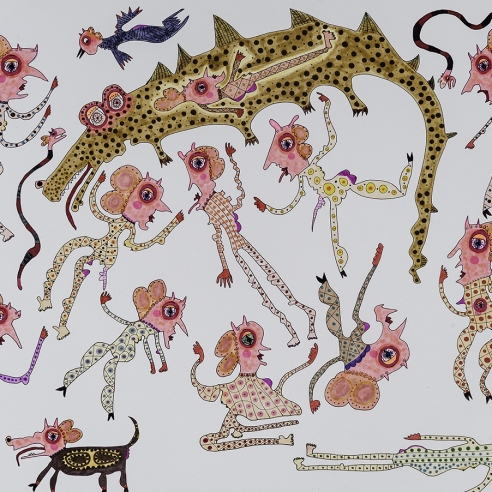a drawing by self-taught artist Jeanne Brousseau of multiple women with fantastical beasts
