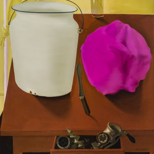 a surrealist still life painting by Honore Sharrer of a white pail and kitchen implements