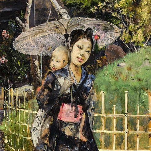 HARRY HUMPHREY MOORE (1844–1926), Japanese Girl Promenading, 1881. Oil on wood panel, 10 7/8 x 6 1/4 in. (detail).