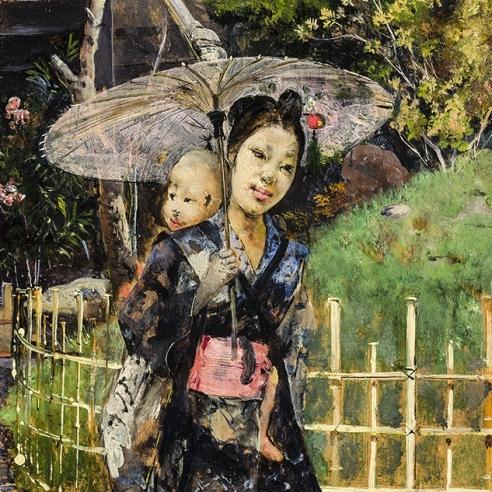 HARRY HUMPHREY MOORE (1844–1926), Japanese Girl Promenading, 1881. Oil on wood panel, 10 7/8 x 6 1/4 in. (detail).