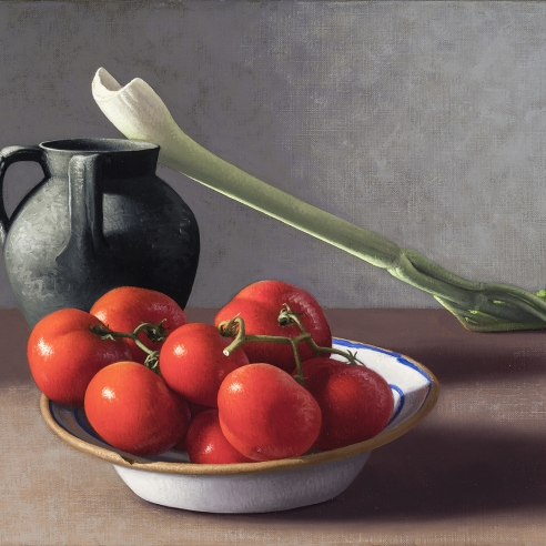 Image of Amy Weiskopf's Tomatoes, Celery, and vessel, oil on linen, 12 by 16 inches, painted in 1998.