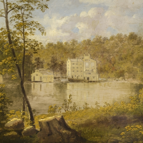 "THOMAS DOUGHTY (1793–1856), ""Gilpin's Mill on the Brandywine,"" about 1830–37. Oil on board, 7 3/4 x 11 3/16 in. (detail)."