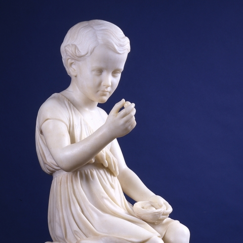 "WILLIAM HENRY RINEHART (1825–1874), ""Boy with Bird's Nest [Robertson Kirtland Mygatt],"" 1868. Marble, 35 1/2 in. high x 24 1/2 in. long x 12 in. wide. Detail."