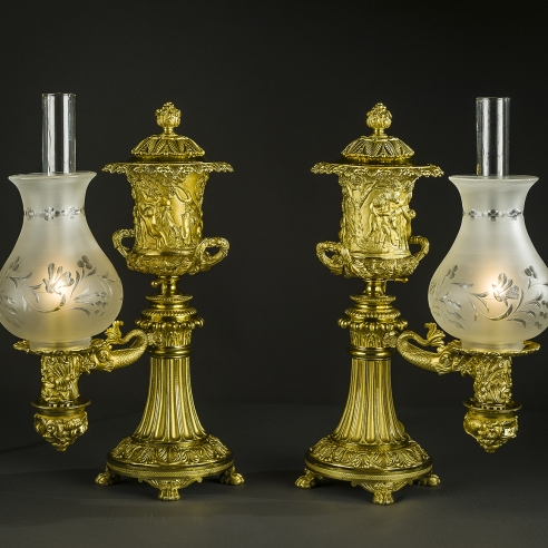 Pair Argand Lamps