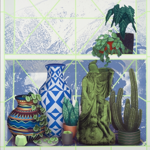 a painting by Robert Minervini of flatly-painted vases, sculpture and cactii on an abstract shelf
