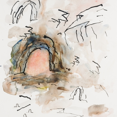 a watercolor and ink drawing of a pink cavern by Louisa Chase