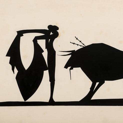 "Hunt Diederich (1884–1953), ""Matador and Bull."" Paper cutout, 9 x 11 3/8 in. (sight)."