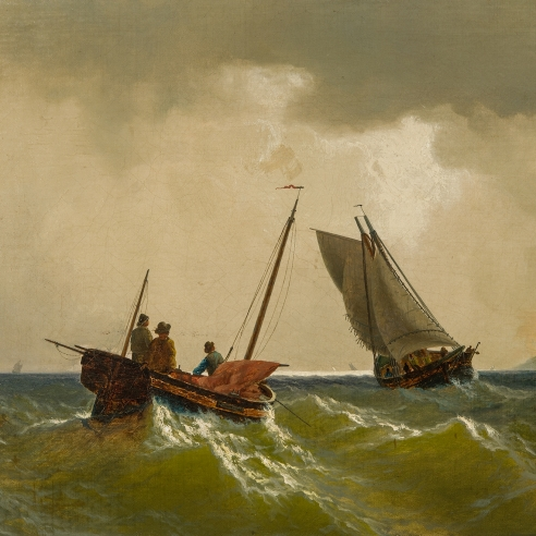 """WILLIAM BRADFORD (1823–1892), """"Ships in Rough Seas,"""" 1863. Oil on canvas, 12 x 18 in. (detail)."""