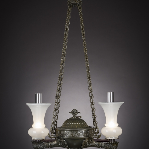 Two-Light Argand Chandelier in the Regency Taste