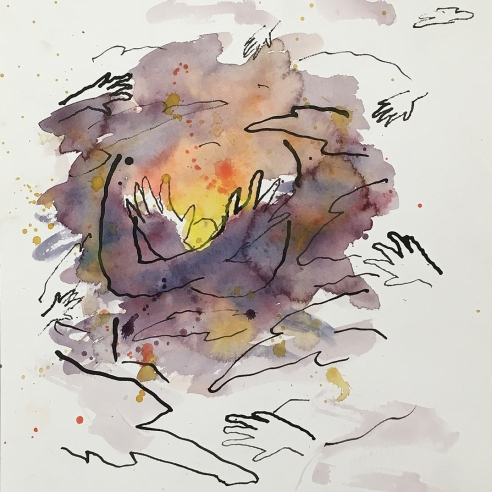 a watercolor and ink drawing of a sunset and hands by Louisa Chase