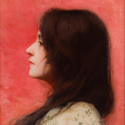 """CHARLES SPRAGUE PEARCE (1851–1914), """"Woman in Profile with Black Hair (The Artist's Wife),"""" 1880s.  Oil on canvas, 13 7/8 x 10 3/4 in. (detail)."""
