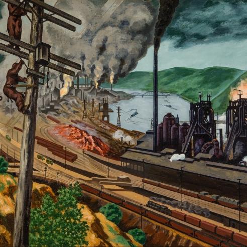 """LOUIS LOZOWICK (1892–1973, """"Steel Valley,"""" 1942. Oil on canvas, 18x 24 in. (detail)."""