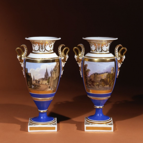 Pair Blue-Ground Vases with Swan Handles with Views of High Street, Oxford, and Warwick Castle, Warwickshire