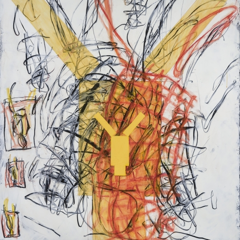 a gestural abstraction by Louisa Chase of a yellow figure upside-down
