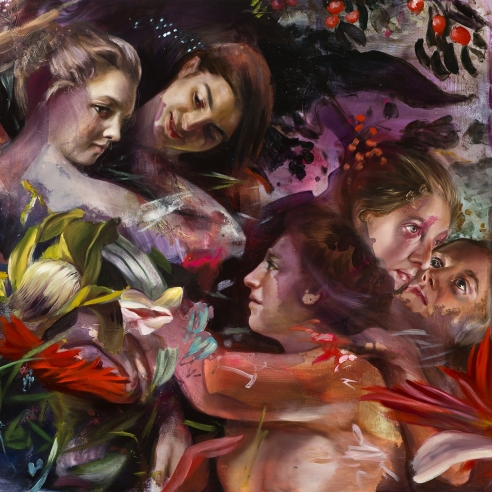 portraits of renaissance-style women in an abstracted, floral background
