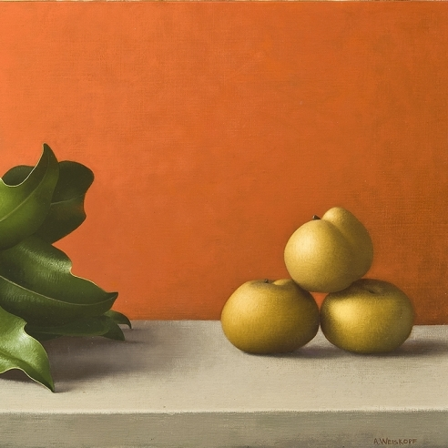 Image of Amy Weiskopf's Magnolia Branch and Asian Pears, oil on linen, 11 3/4 by 19 3/4 inches, painted in 1993.