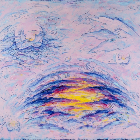a bright yellow and blue sunset sits in a lushly-painted pink background with enfolded hands and arms hidden in the clouds