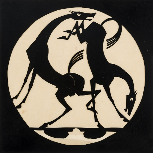 "Hunt Diederich (1884–1953), ""Two Horses,"" 1931. Paper cutout, 8 x 8 in. (sight)."