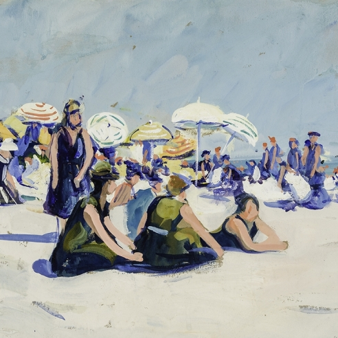"""JANE PETERSON (1876–1965, """"The Beach, Gloucester,"""" about 1915. Gouache on paper, 18 x 24 in. Detail."""