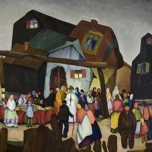 WILLIAM S. SCHWARTZ (1896–1977), Old Country Bazaar, 1926. Oil on canvas, 36 x 42 in. (detail).