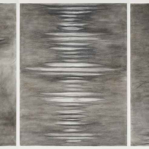 a suite of five abstract drawings by Elizabeth Turk of white discs layered on top of each other