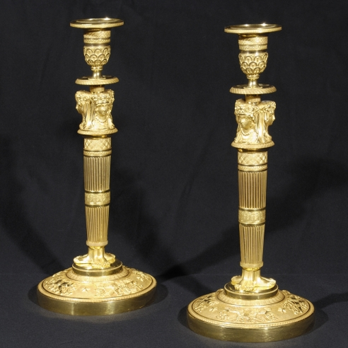 Pair Figural Candlesticks in the Empire Taste